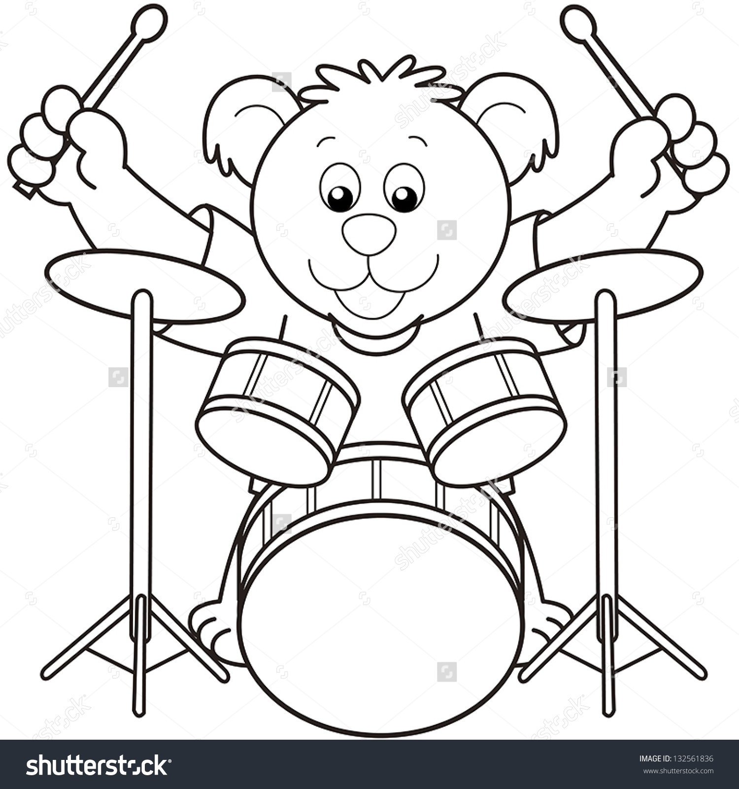 Coloring pictures drums - Cartoon Bear Playing Drums Black And White