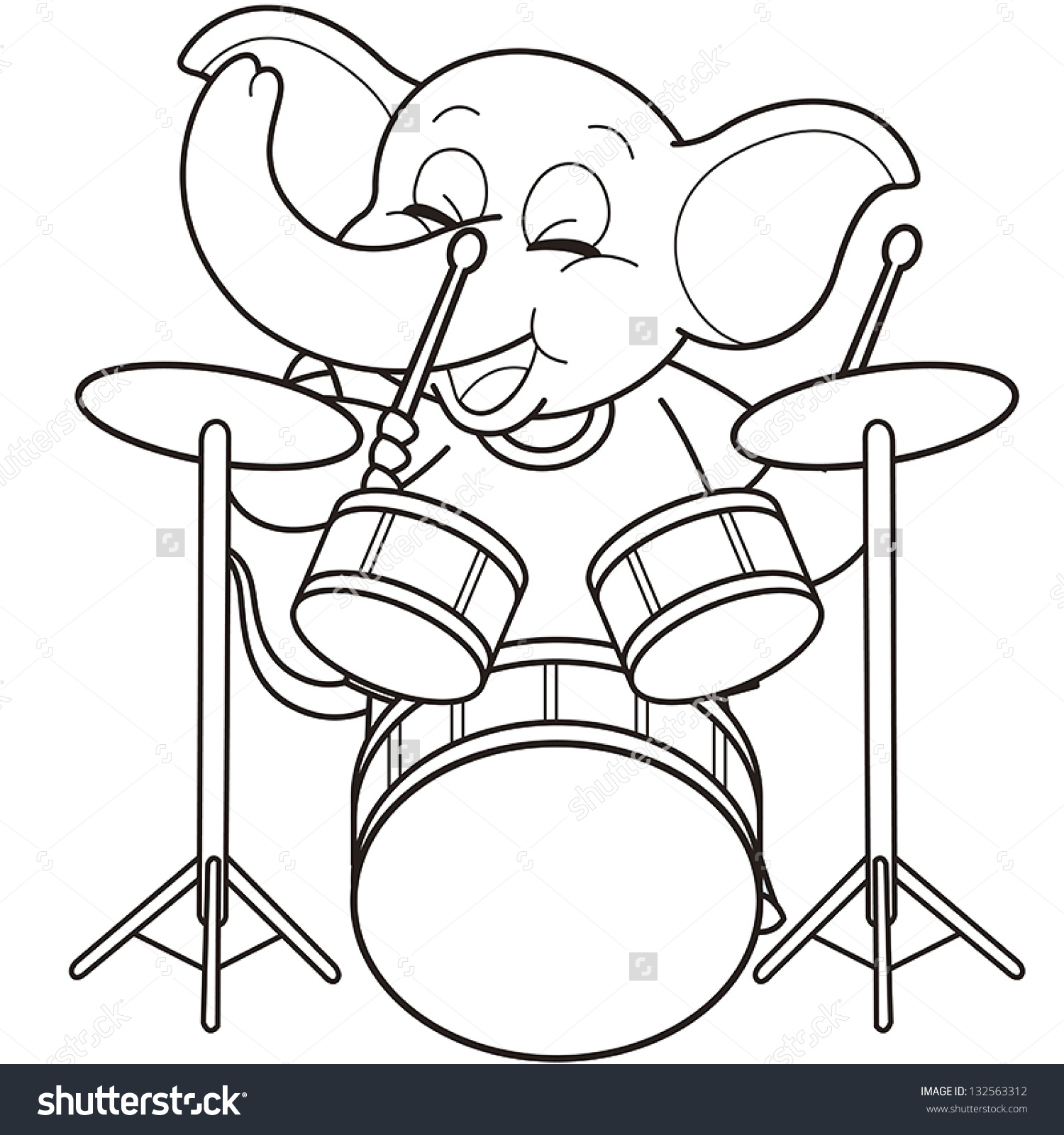 Coloring pictures drums - Cartoon Elephant Playing Drums Black And White