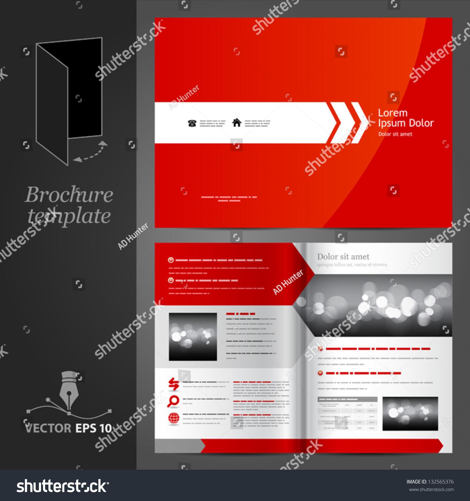 Vector red brochure template design white stock vector for Red brochure template