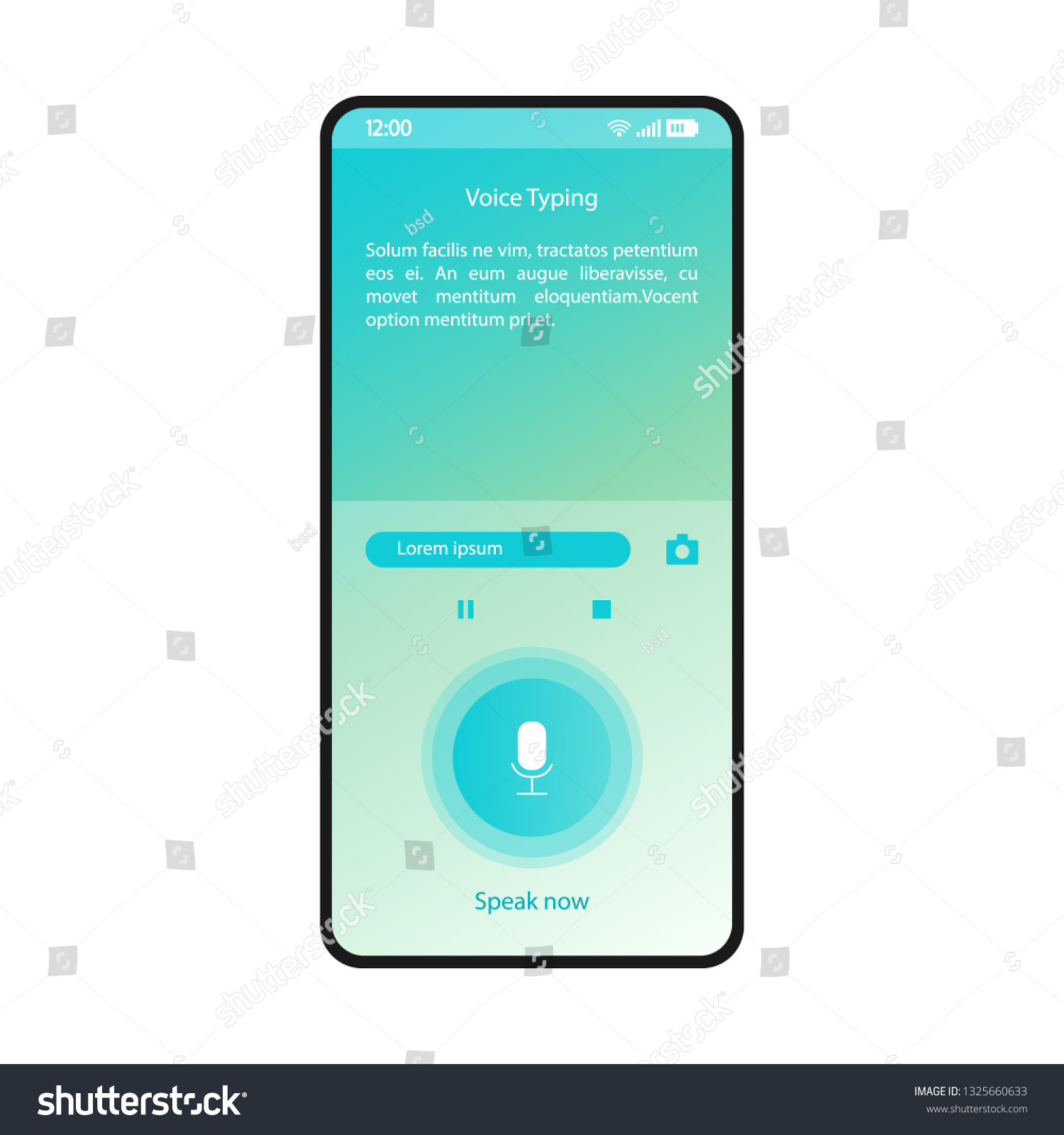 Voice Typing Smartphone Interface Vector Template Stock
