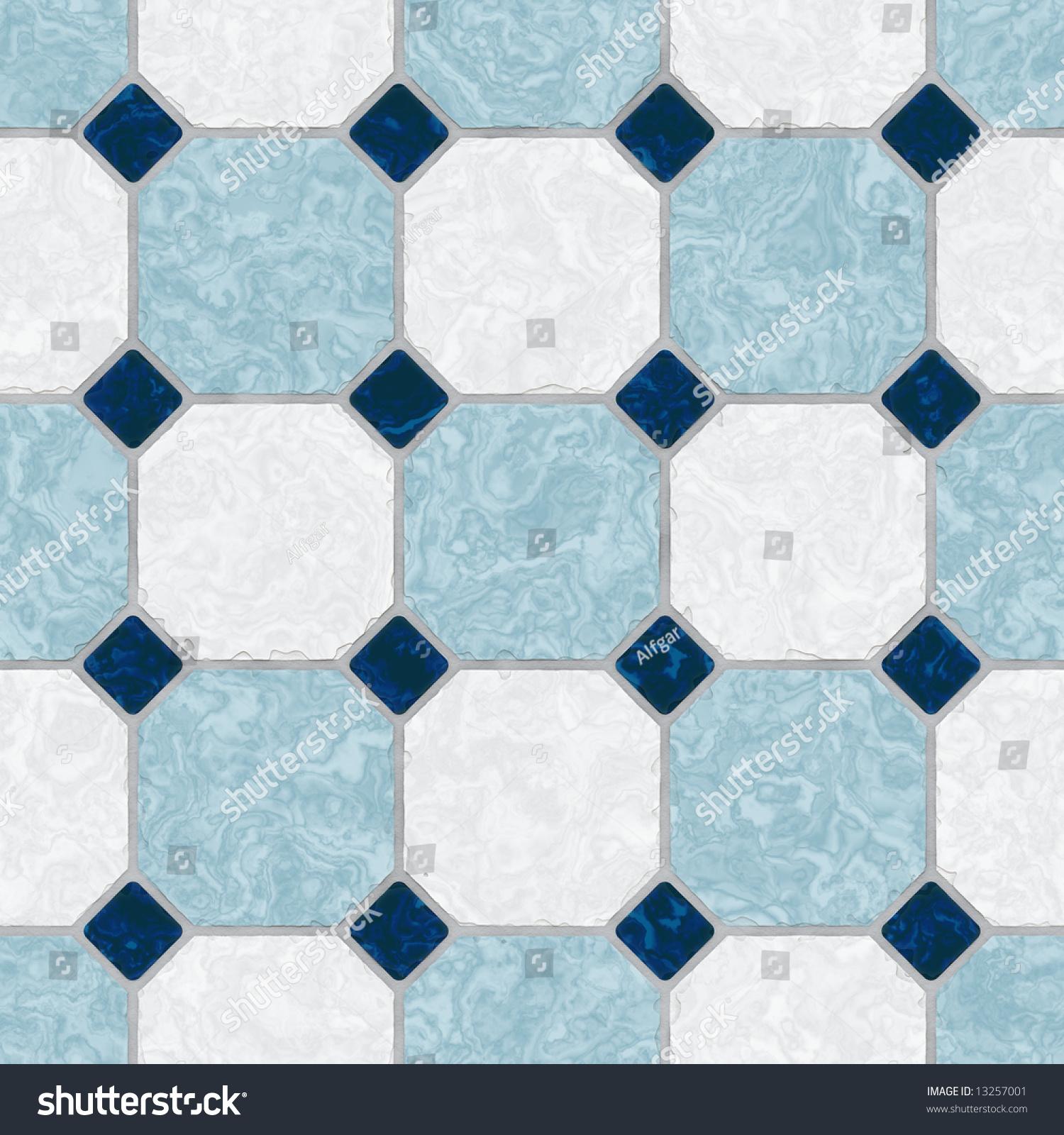 Blue White Ceramic Tile Kitchen Floor Stock Photo 13257001