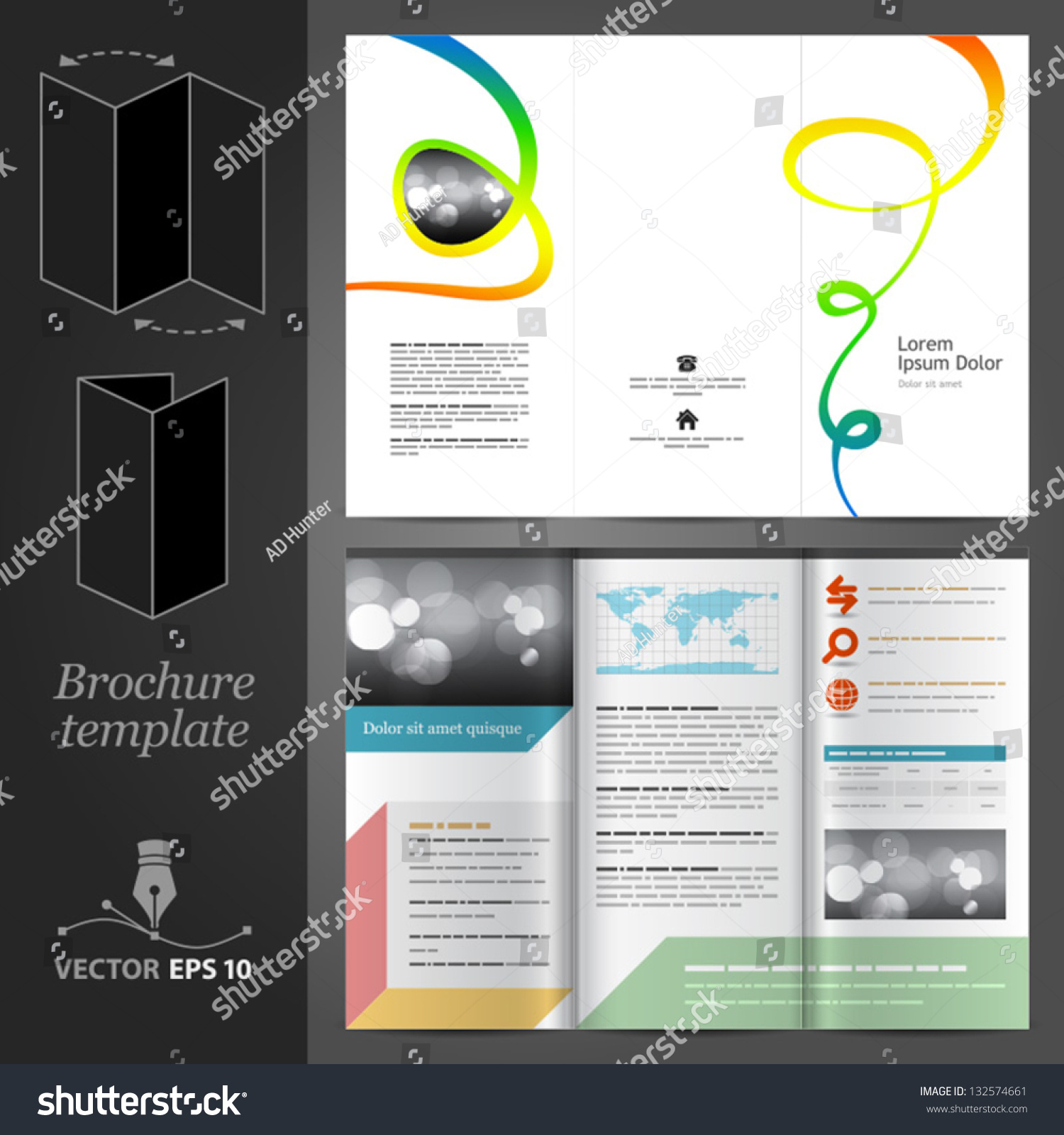 Vector White Brochure Template Design Color Stock Vector 132574661