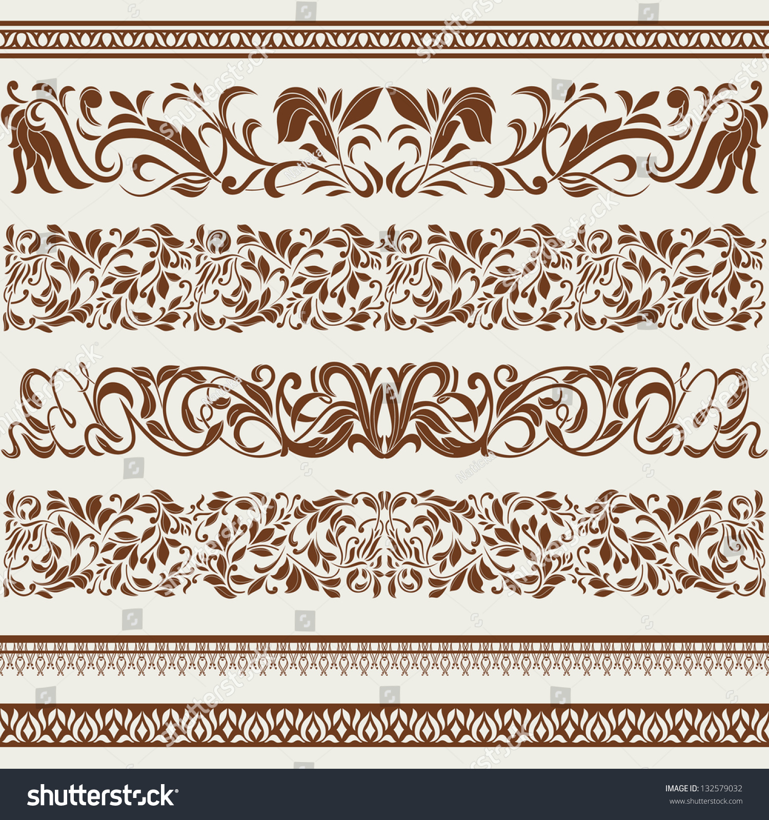 Vintage style ornaments - Set Of Borders And Ornaments In Vintage Style