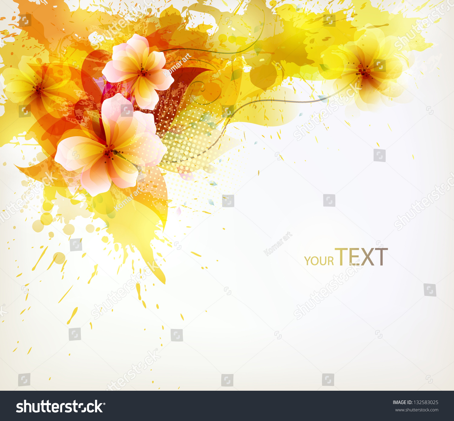 Colorful yellow flower on splattered background stock vector colorful yellow flower on splattered background vector design mightylinksfo
