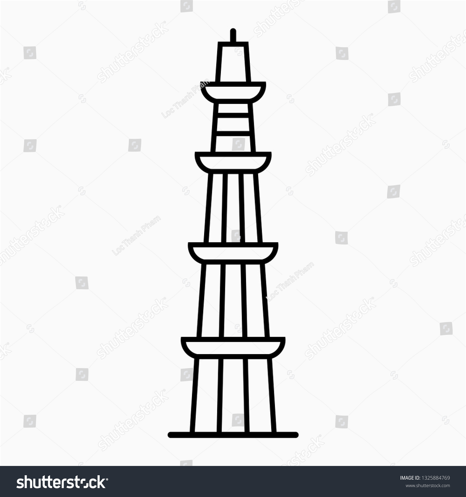 Outline qutub minar pixel perfect vector icon