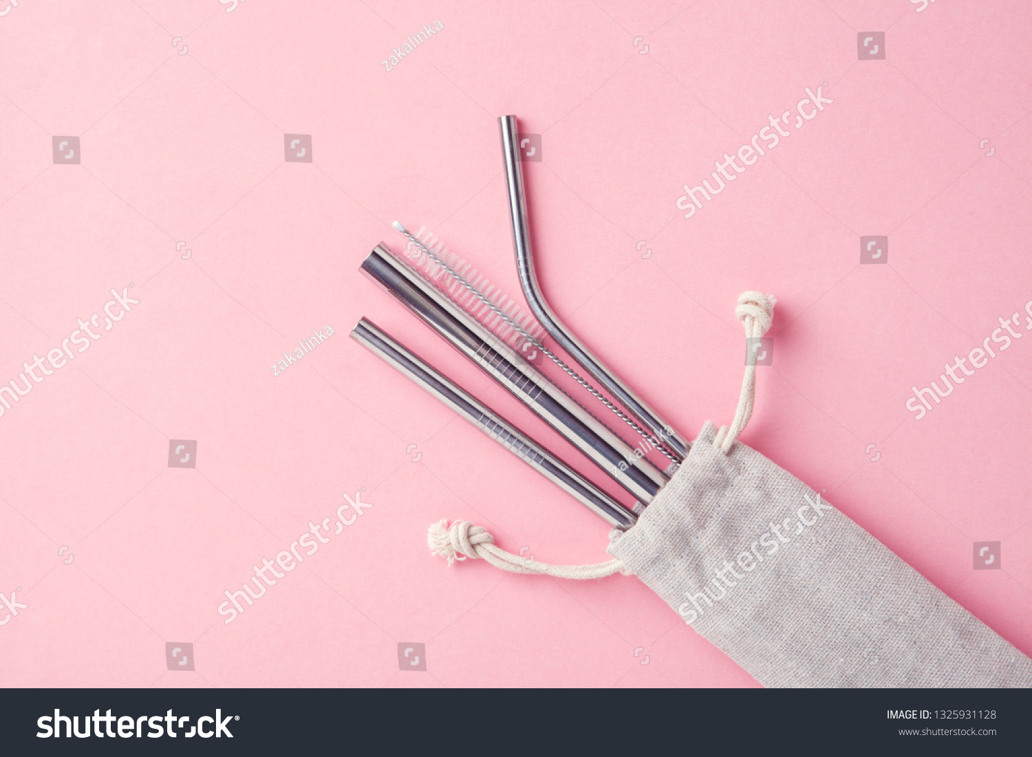 Reusable Stainless Steel Straws Cleaning Brush Stock Photo