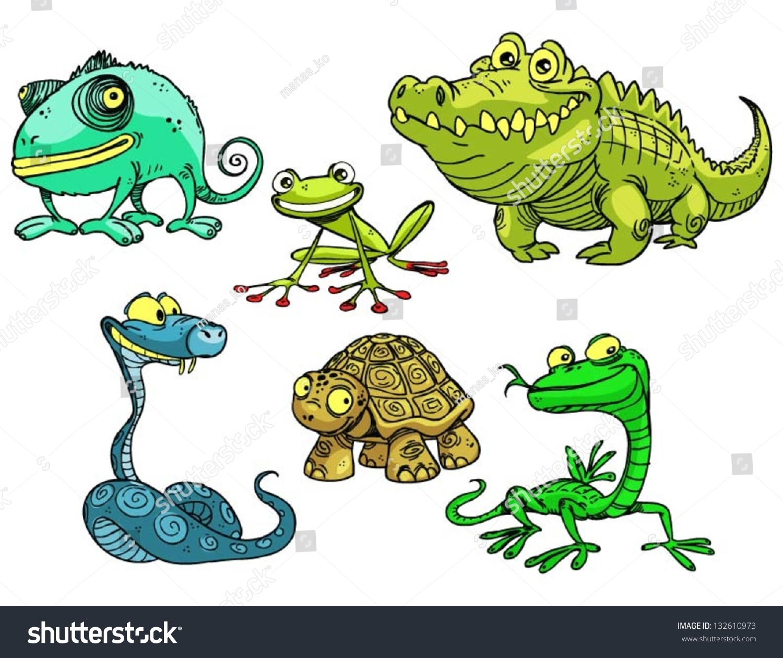 Collection Reptiles Amphibians Stock Vector 132610973 ...