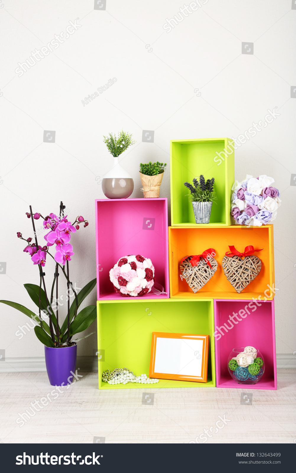 Beautiful colorful shelves with different home related objects stock photo 132643499 shutterstock - Beautiful photoshelves ...