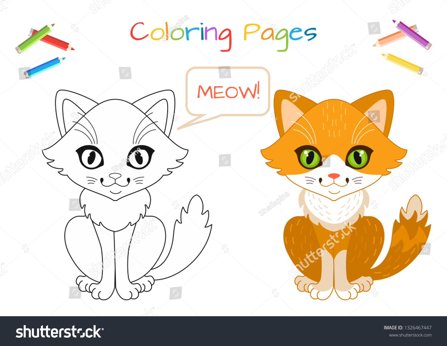Funny Little Cat Copy Picture Coloring Stock Vector Royalty