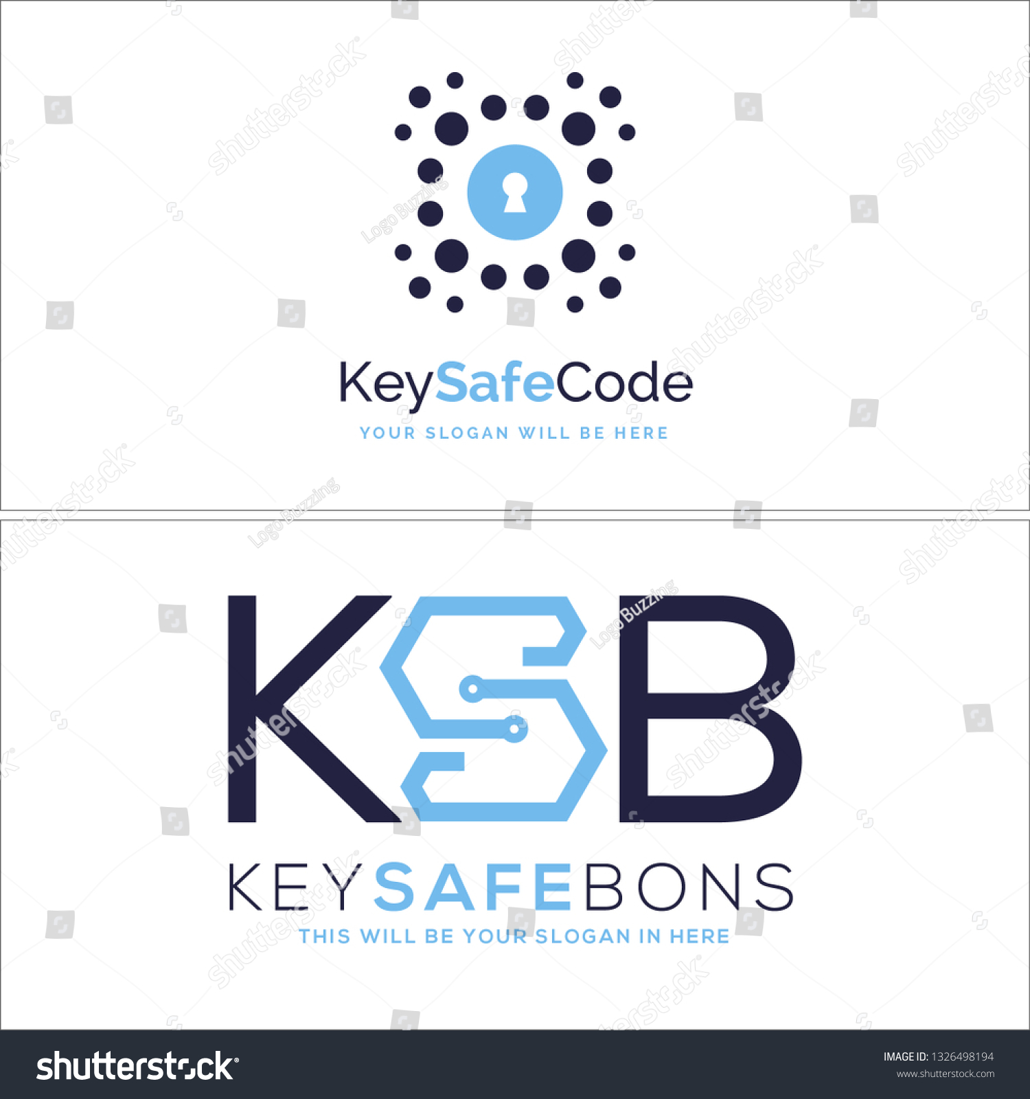 Blue Navy Line Art Tech Key Stock Vector (Royalty Free