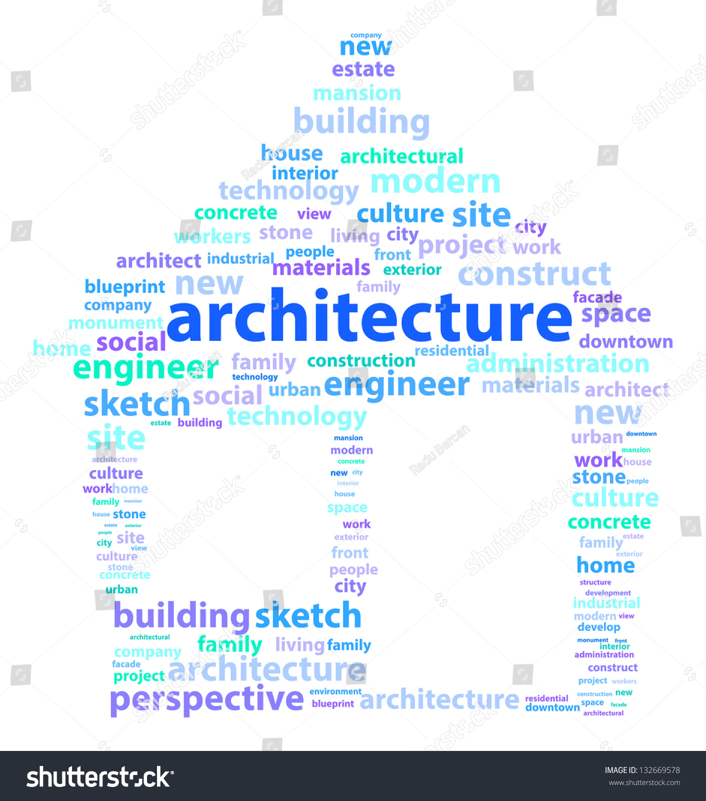 Architecture Related Words Making A House Word Cloud