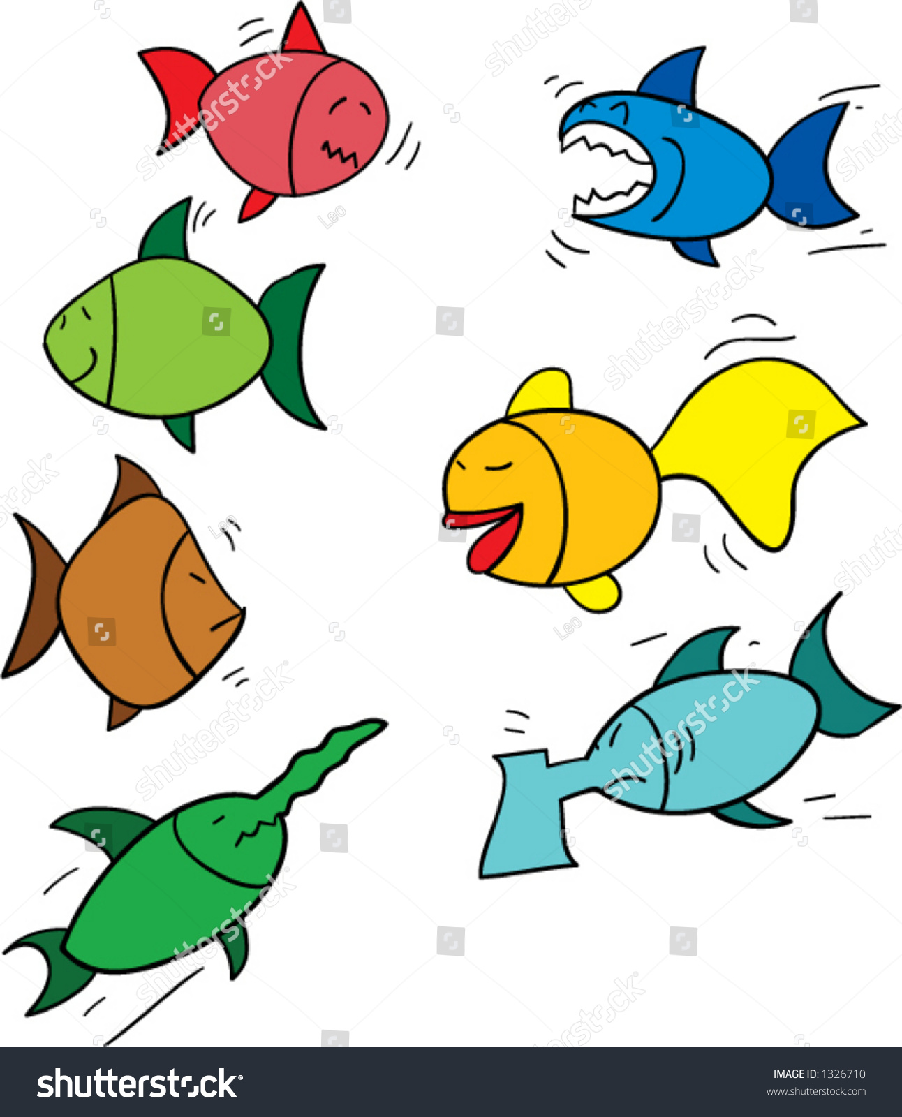 Seven funny looking cartoon fish redfish stock vector for What are the seven fishes