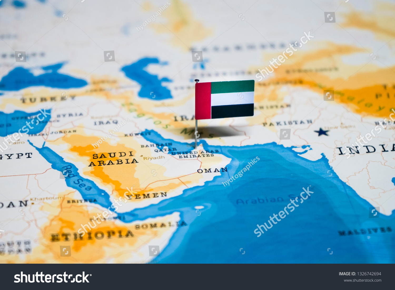 Flag United Arab Emirates Uae World Stock Photo Edit Now 1326742694