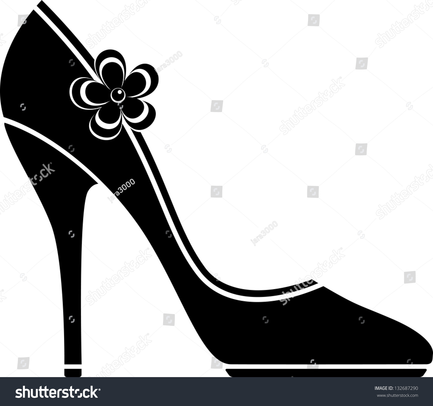 high heel shoes silhouette stock vector 132687290