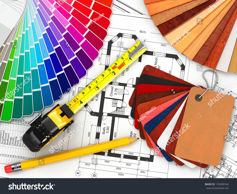 Interior design architectural materials measuring tools for Interior design blueprints