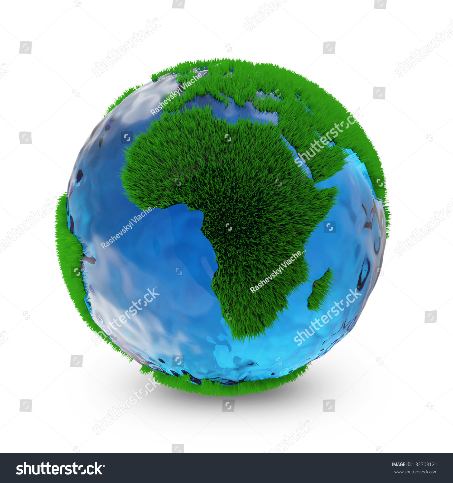 Miniature Green Earth Planet Isolated On White Background ...