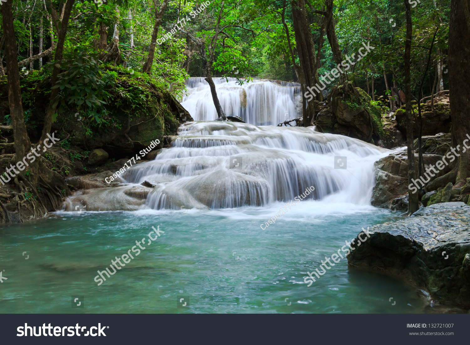Waterfall In Erawan National Park, Level 1, Kanchanaburi ...