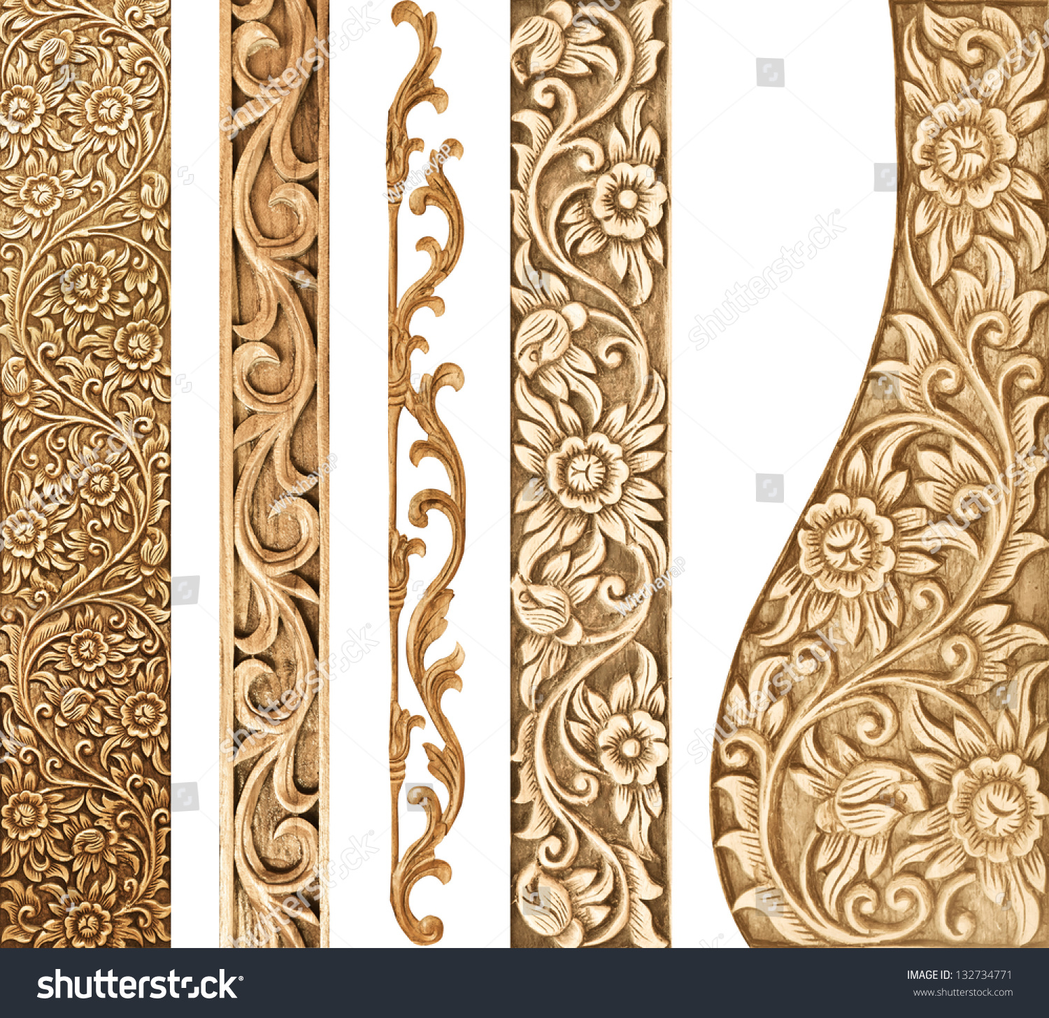 Pattern Flower Carved On White Background Stock Photo 132734771