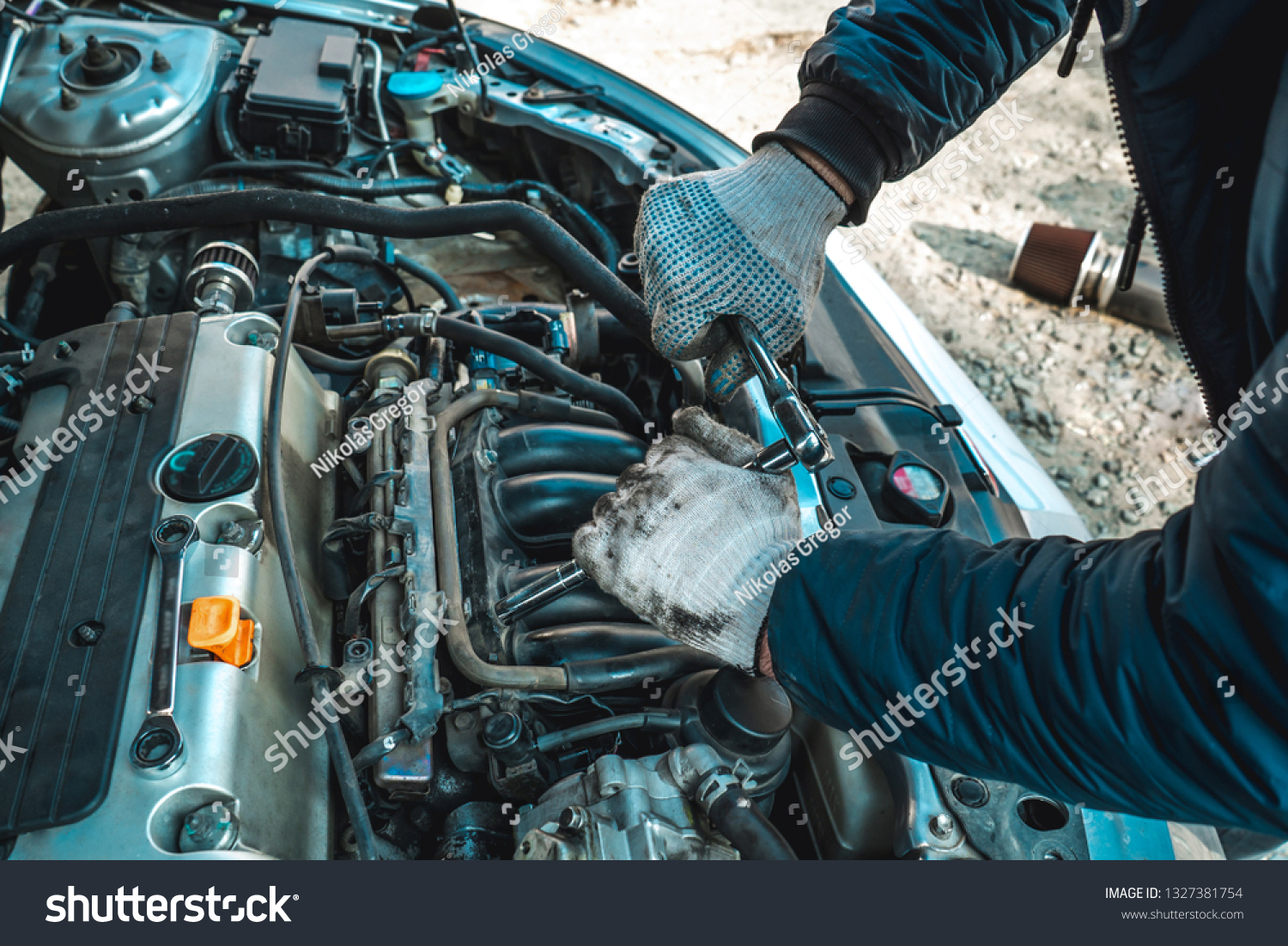 Photo Repair Engine Hands Bed Key Stock Photo Edit Now 1327381754