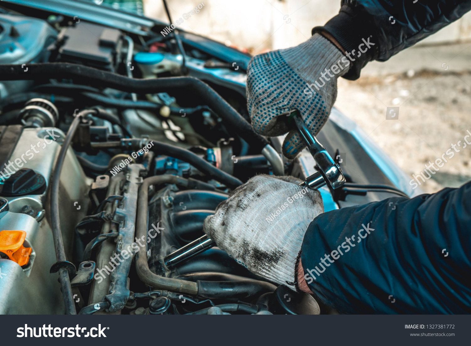 Photo Repair Engine Hands Bed Key Stock Photo Edit Now 1327381772