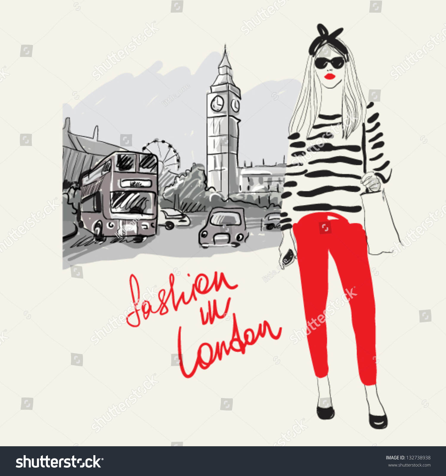 Fashion Girl Londonvector Illustration Stock Vector 132738938 Shutterstock
