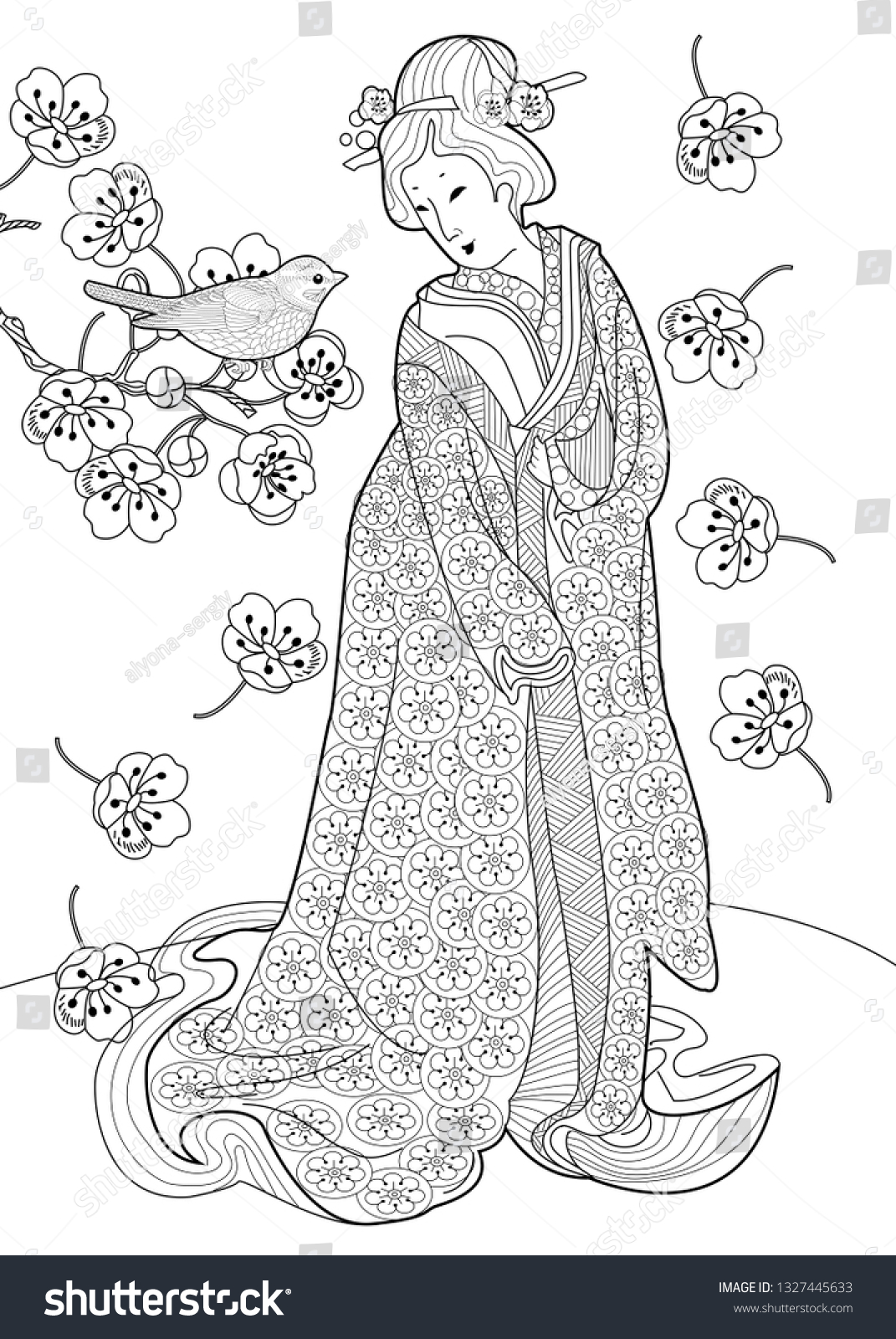Kimono coloring page for free | Coloring pages | 1600x1071