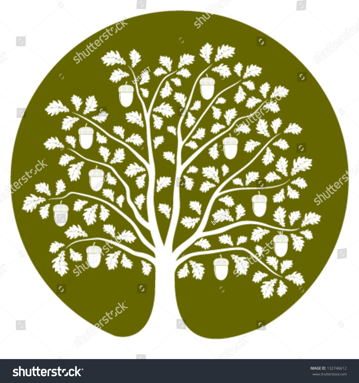 Vector Oak Tree Isolated On Green Stock Vector (Royalty Free ...
