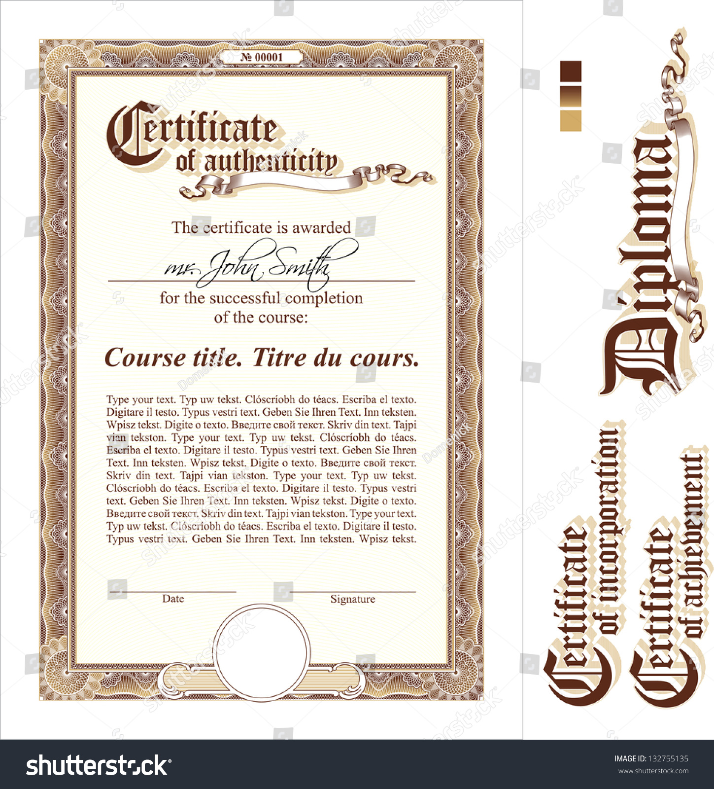 Brown gold certificate template vertical additional stock vector brown gold certificate template vertical additional design elements yadclub Choice Image