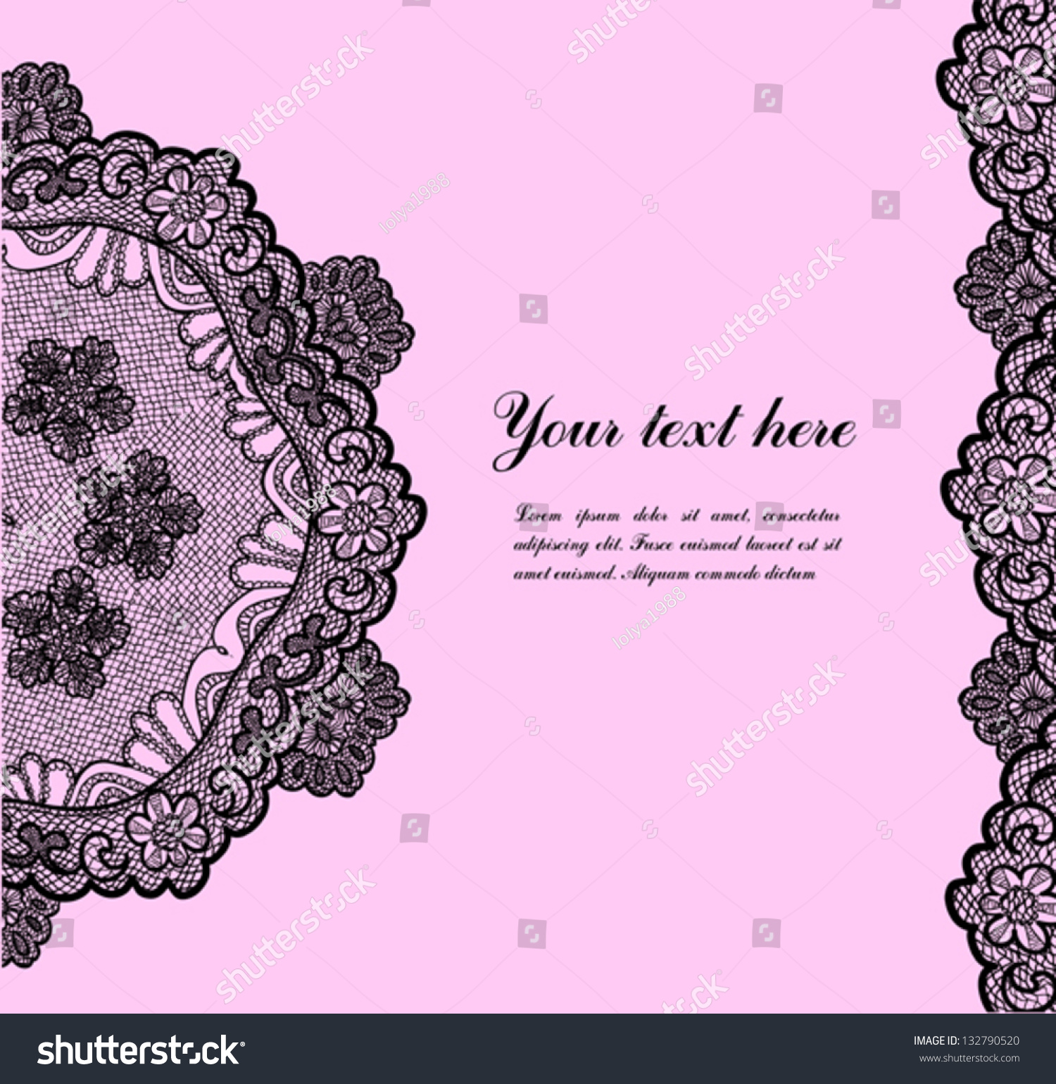Black Lace On Pink Background And Place For Your Text ...