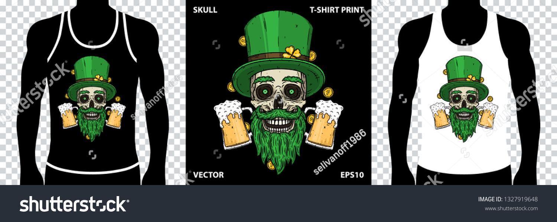 2b9dd0da4 ... Illustrations; Editorial; Footage; Music. Saint Patrick's skull with  green hat, glass beer and clover leaves. Skull. Irish