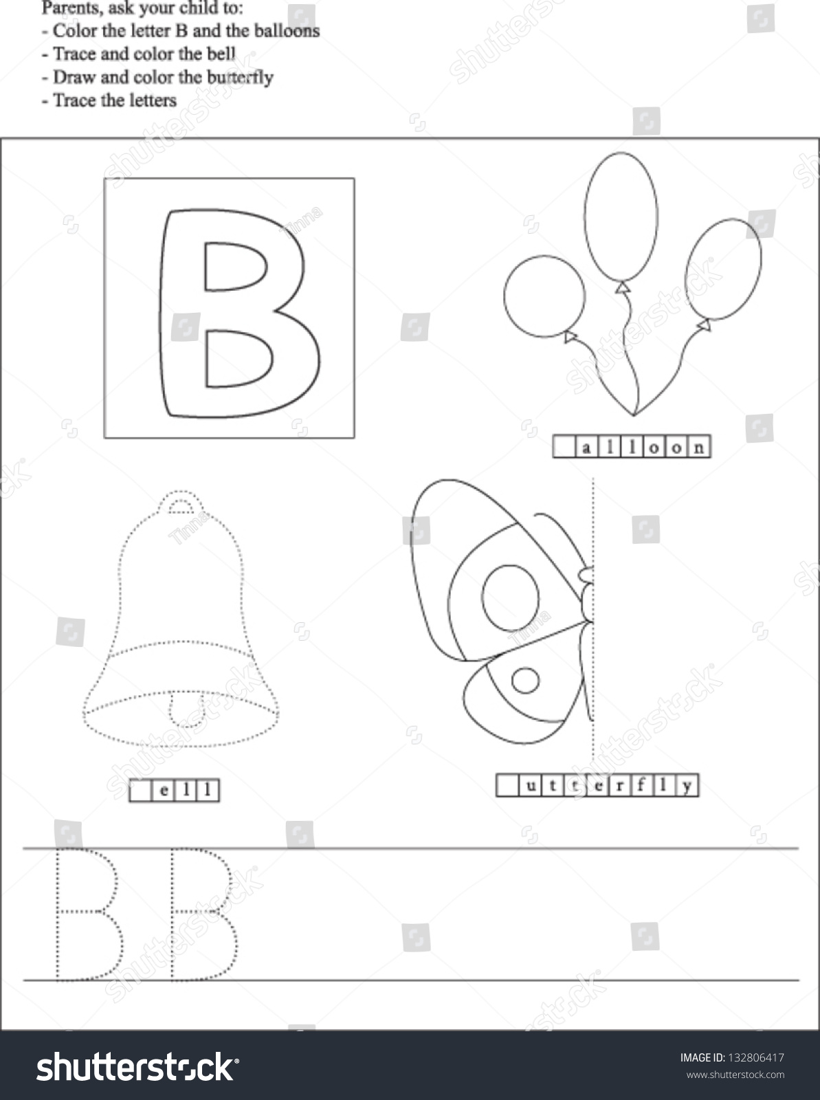 Trace And Color: Letter B. Worksheet For Preschoolers ...