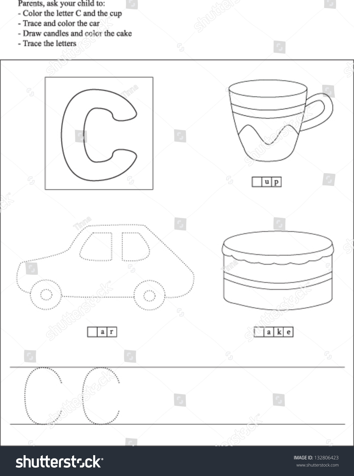 Trace Color Letter C Worksheet Preschoolers Vector 132806423 – Letter C Worksheets for Preschool