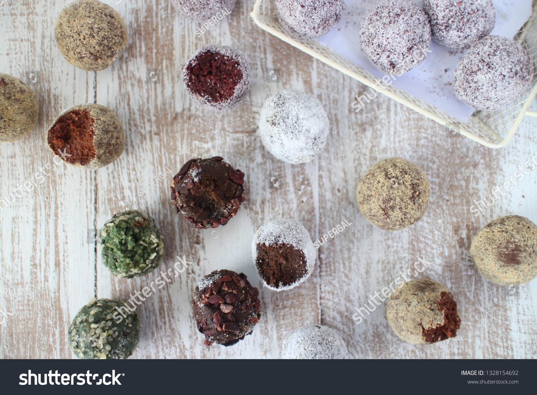 Energy Balls Spirulina Hempseed Balls Cacao Food And Drink Stock Image 1328154692