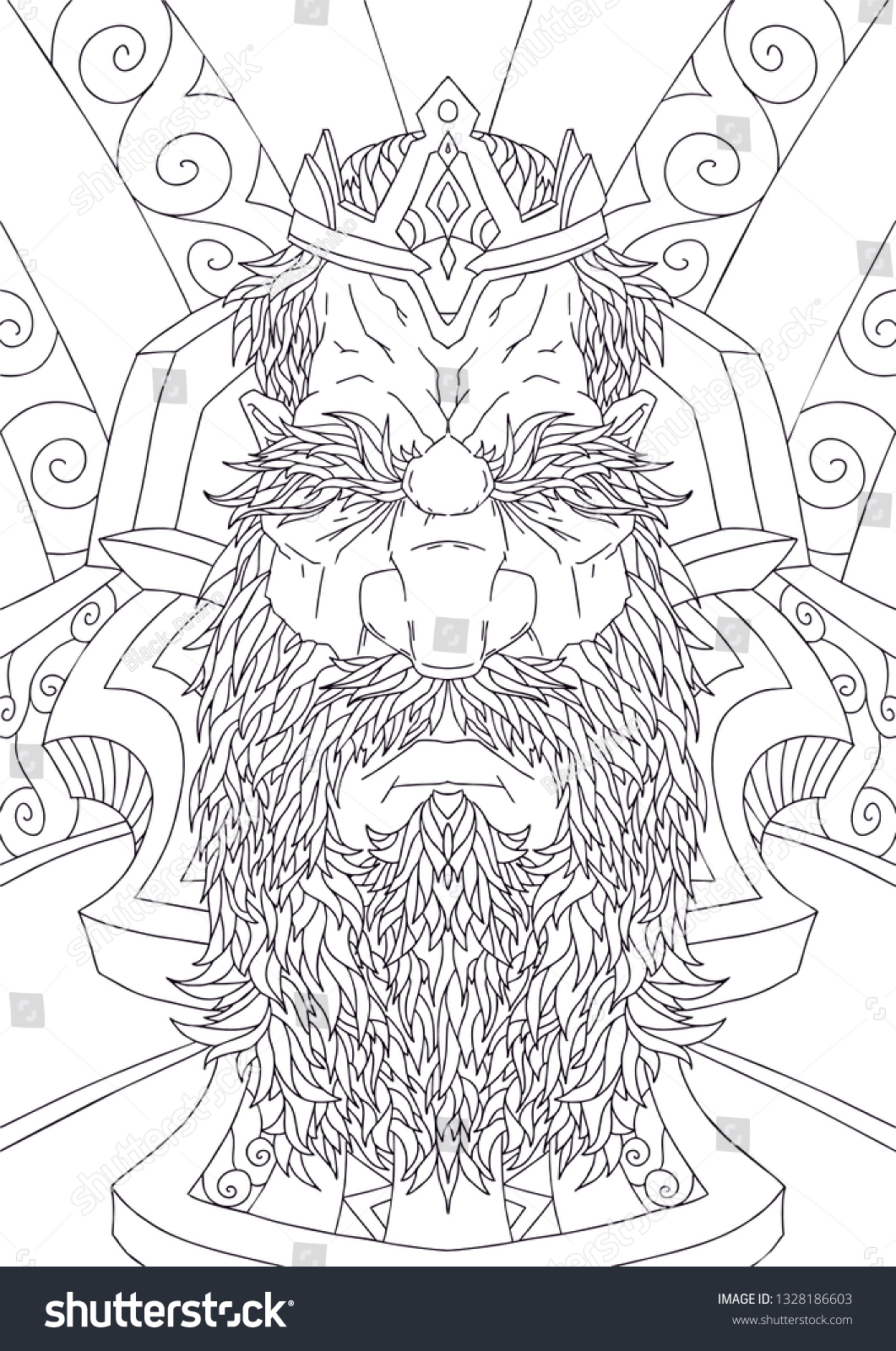 Bearded man with mustache for adult coloring pages tattoo art ethnic patterned t