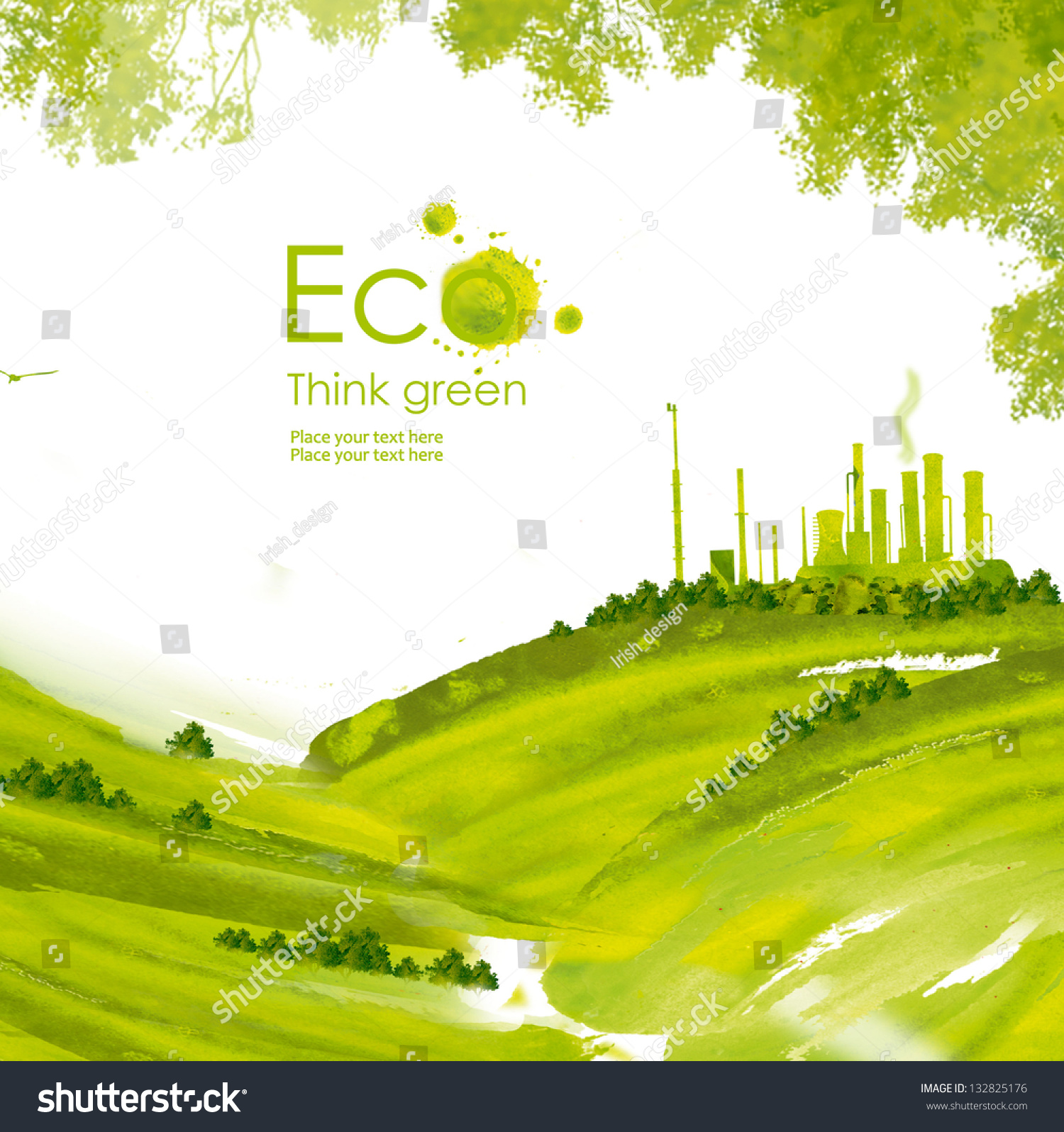 Environmental Concept Earthfriendly Landscapes: Illustration Environmentally Friendly Planetgreen Factory