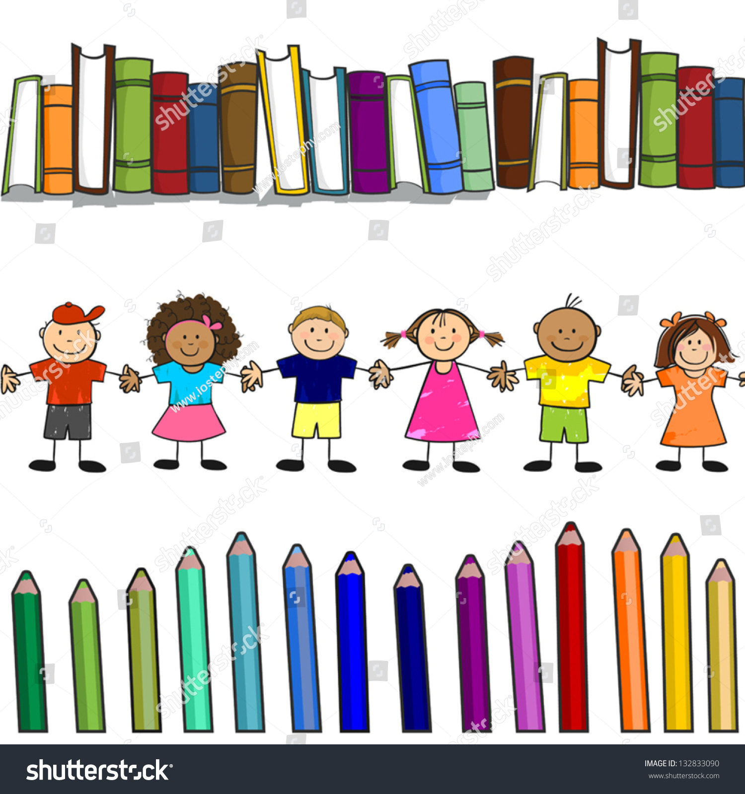 Childrens Books Colors Naive Style Seamless More Stock Vector ...