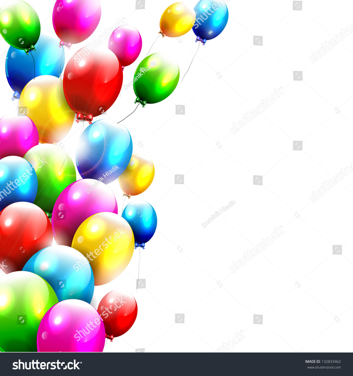 Modern Birthday Balloons White Background Stock Vector HD