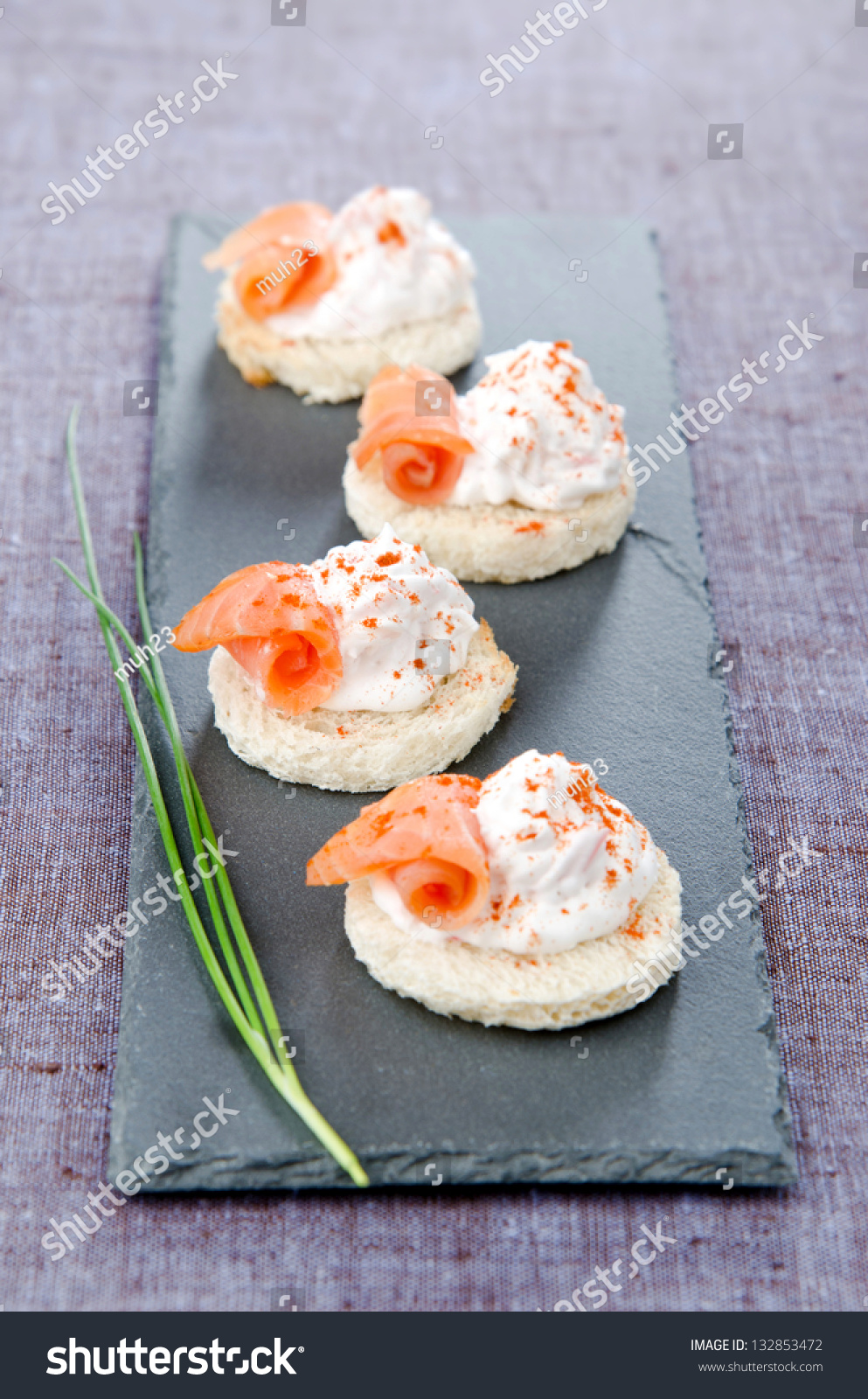 Canapes chiffon smoke trout and crab stock photo 132853472 for Smoked trout canape