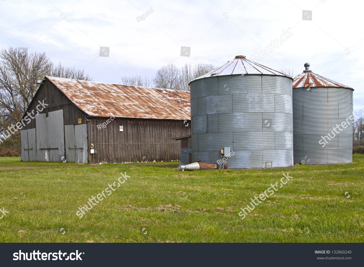 Old Rusty Abandoned Storage Shed Silo Stock Photo