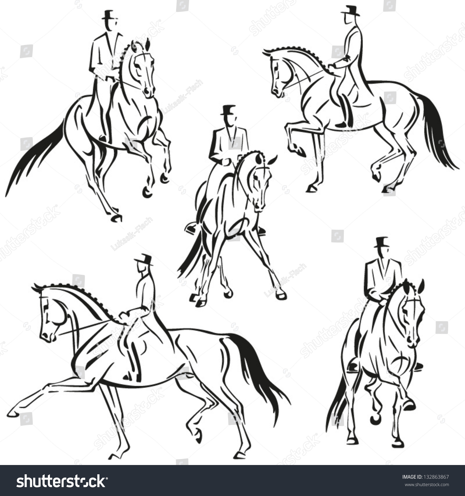 Dressage Riders Simplified silhouettes of horse and rider performing ...