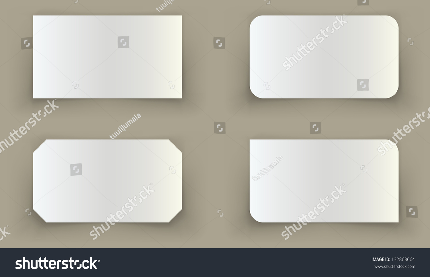 Standard Business Card Shadow Curled Edges Stock Vector (2018 ...