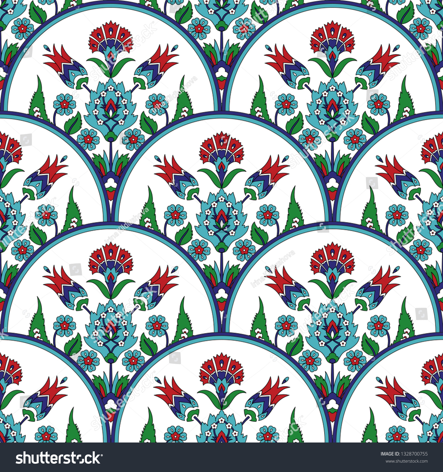 Turkish arabic pattern vector seamless. Ottoman iznik tile design with tulip flowers. Oriental background for wallpaper, backdrop, home textile, ...