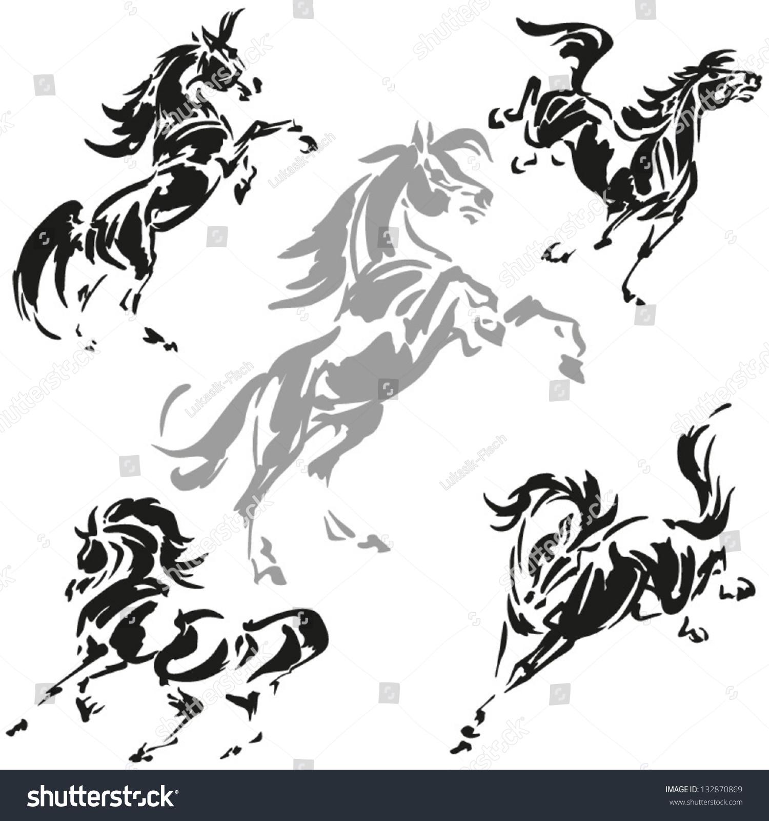 Running Horses Silhouette Wall Border Stock Vector Rearing And Prancing Horses Dynamic Brush