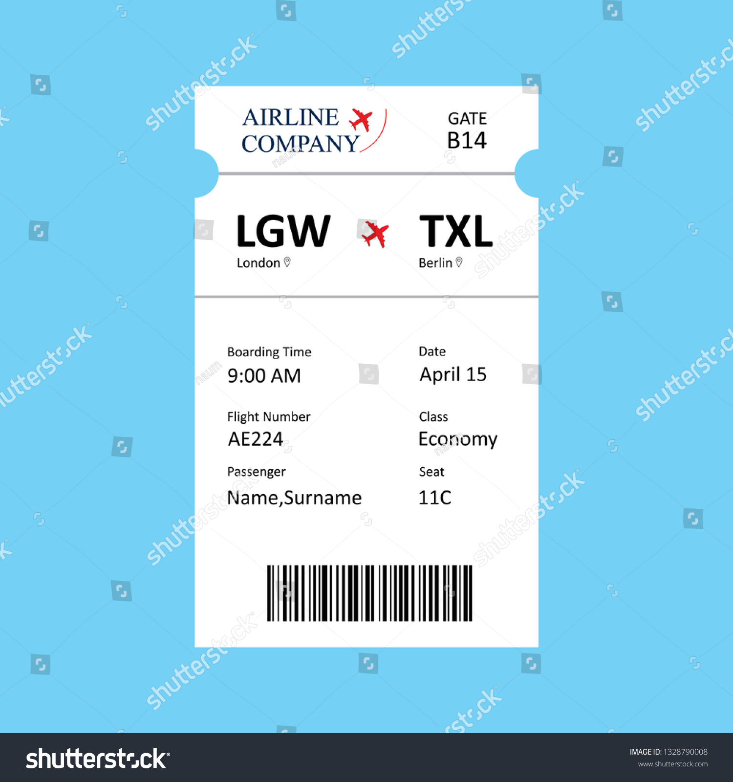 Airline Boarding Pass Ticket Template Qr Stock Vector