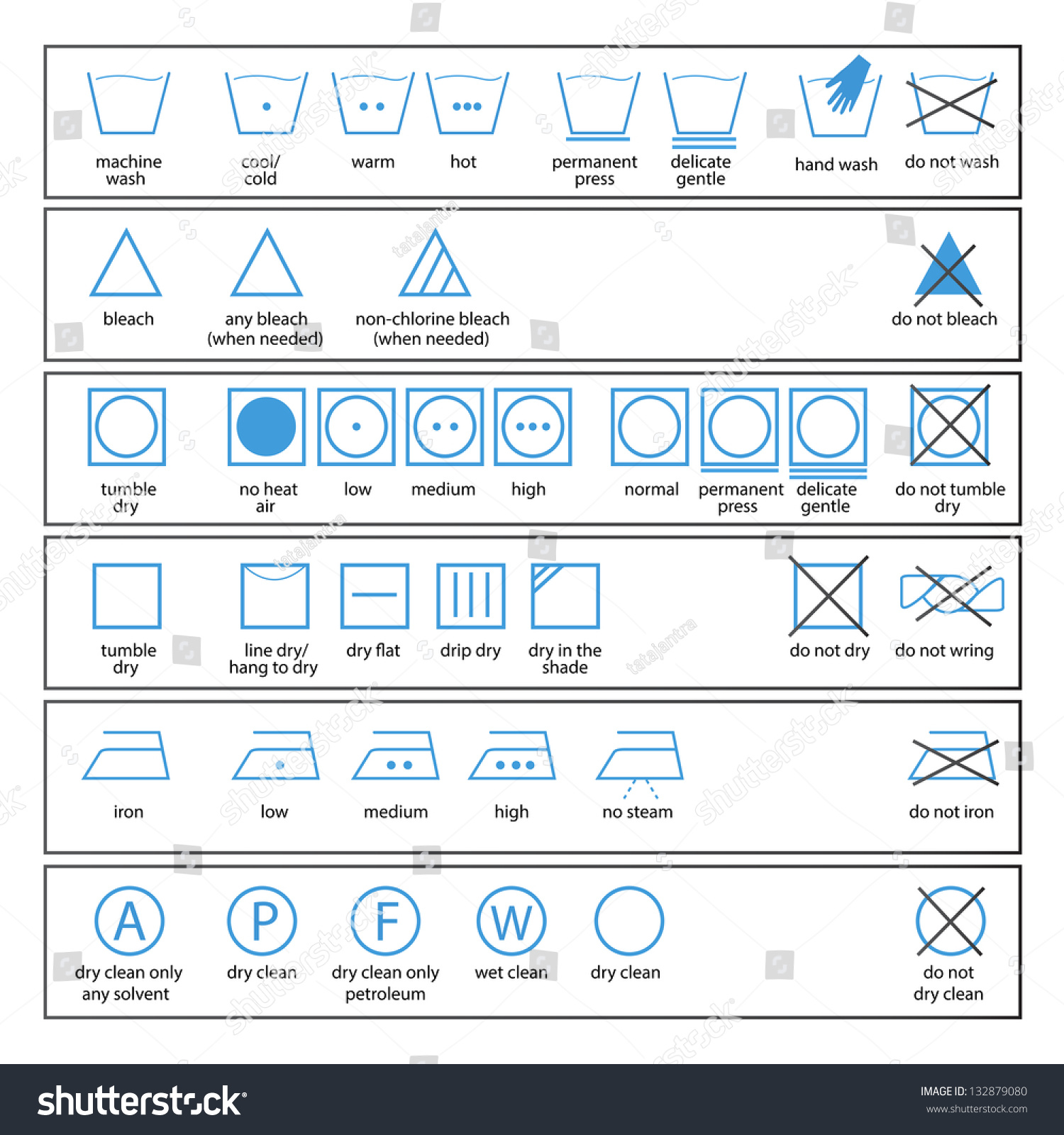 Icon Set Washing Signs Textile Care Lager-vektor 132879080 ...