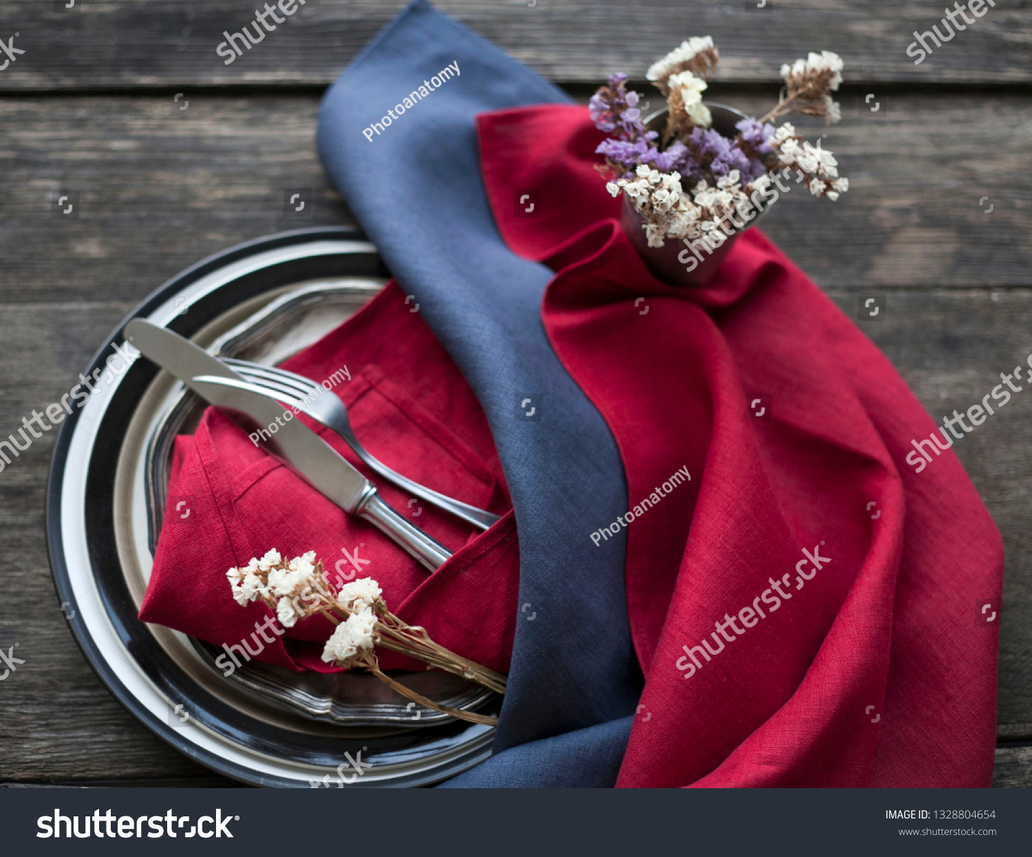 Red Linen Napkins On Wooden Table Stock Photo Edit Now 1328804654