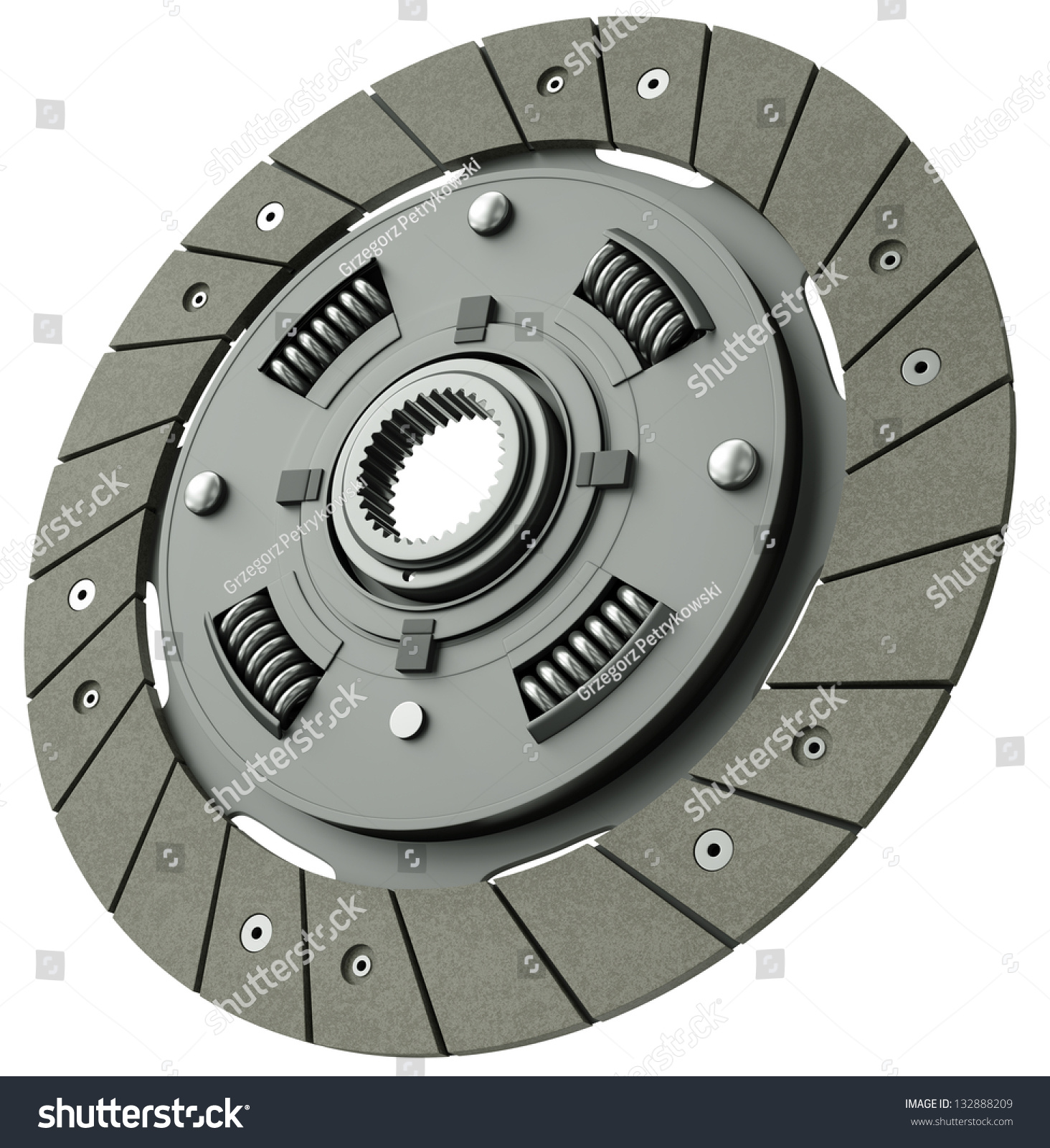 Automotive Clutch Plate : Car clutch plate isolated on white stock illustration