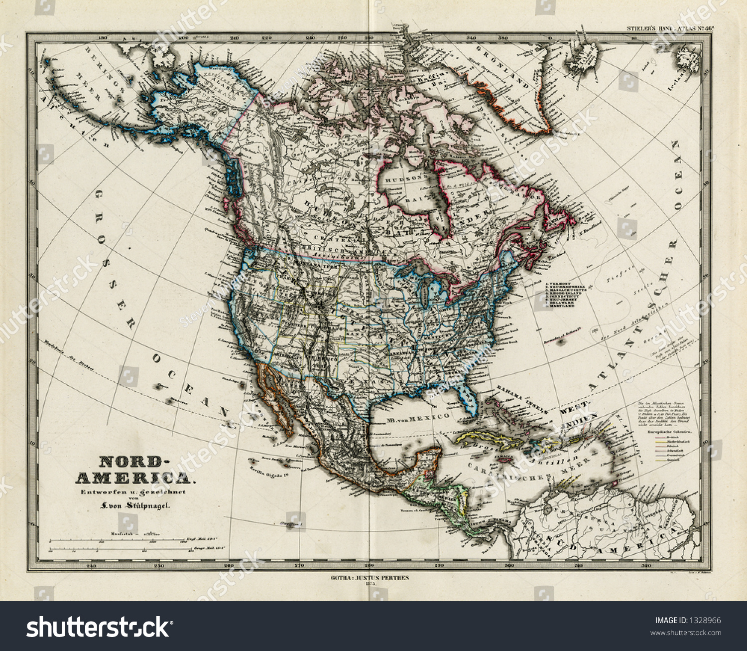 1872 antique map north america stieler stock illustration 1328966 1872 antique map of north america stieler dark version gumiabroncs Images