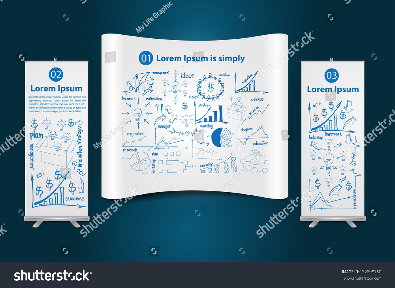 Trade Show Booth Roll Banner Stand Stock Vector 132898760