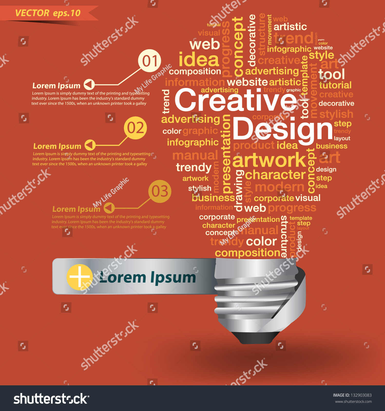 creative light bulb creative design concept stock vector  creative light bulb creative design concept of word cloud vector illustration modern template design